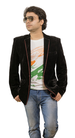 indian male model wearing black blazer front pose