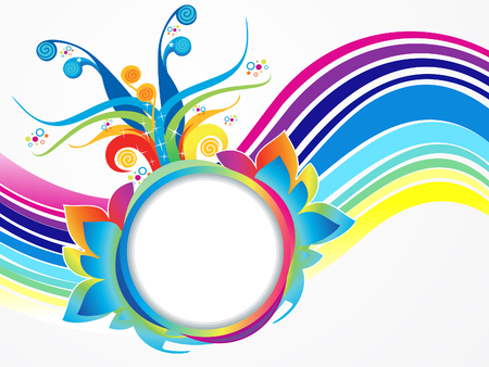 curve creative: Abstract artistic colorful rainbow explode vector illustration. Illustration