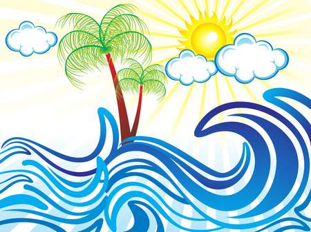 orange trees: abstract artistic summer holiday background vector illustration