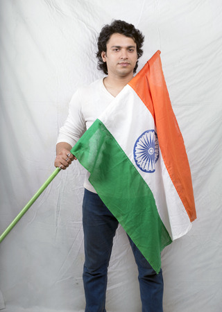 indian model posing with indian flag in white tshirt