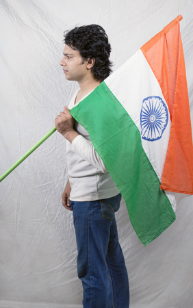 indian man posing with tiranga side pose Stock Photo