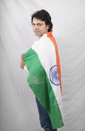 indian model  with indian flag smiling Stock Photo