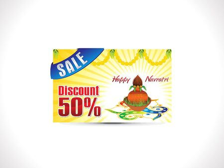 diwali celebration: Abstract creative navratri discount card vector illustration