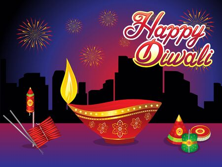 abstract creative diwali night background vector illustration