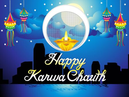 Abstract artistic karwa chauth background vector illustration