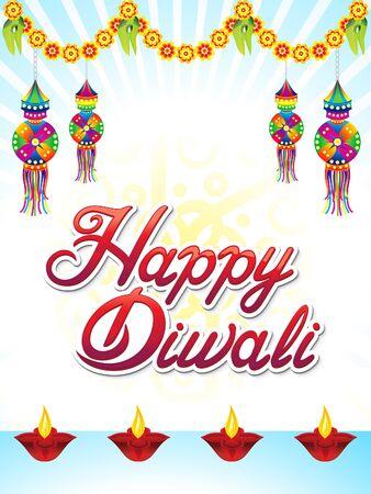 Abstract artistic Deepawali background vector illustration. Ilustração