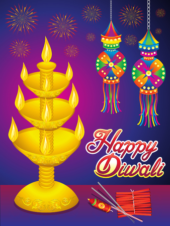 Abstract artistic detailed Diwali background vector illustration.