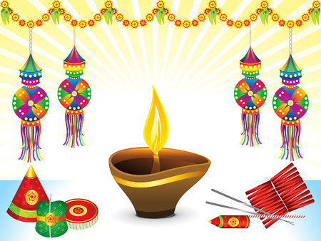 Abstract artistic Diwali background vector illustration.