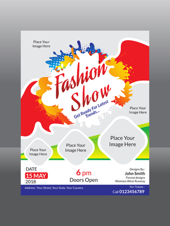 Abstract fashion flyer template vector illustration.