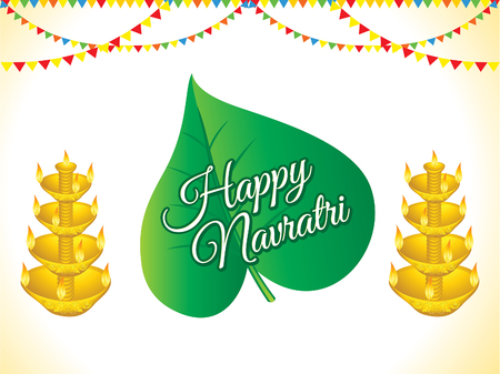 Abstract artistic creative Happy navratri background with leaf and banners  vector illustration