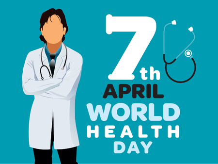 world health day vector illustration doctor and stethoscope.