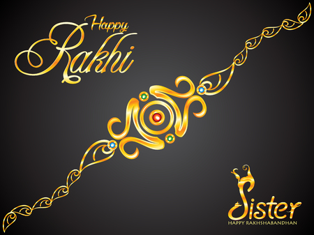 abstract artistic creative golden rakhi vector illustration