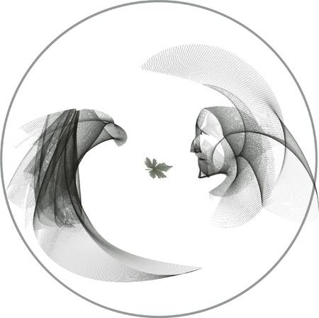 pagan: Shaman indien et de l'Aigle, dans le cercle de la vie, sont � regarder les yeux des uns des autres. Consacr� � Carlos Castaneda et toutes les cultures chamaniques pa�ennes du monde. Illustration