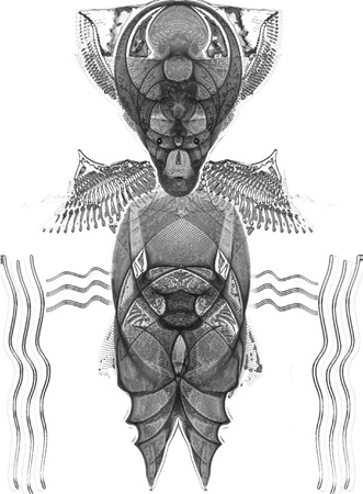 pantheon: Voodoo Gods from Voodoo pantheon were the source of inspiration during the creation of this art work. That can also be some other dark and wise creature or an ancient idol.  Illustration