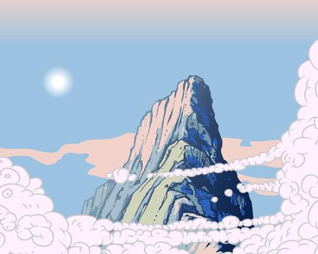 Clouds in sky over mountain peak Stock Vector - 6119258