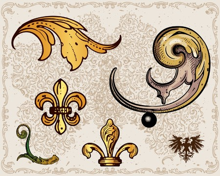 Antique frame decoration elements Vector