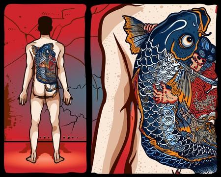 tattoo traditional: Disegno tatuaggio giapponese  Vettoriali