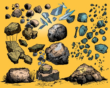 cliff: Flying rocks and stones Illustration