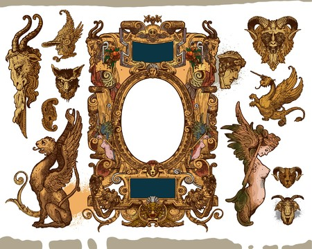 Heraldic frame design elements Vector