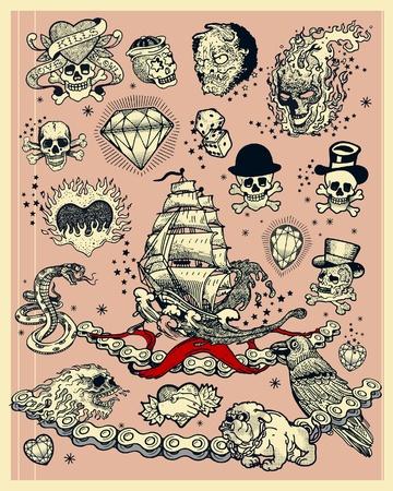 tattoo traditional: Tatuaggi Vettoriali
