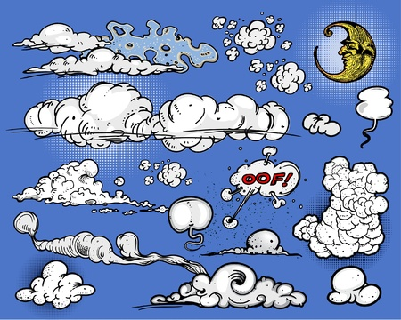 white smoke: Cartoon clouds & moon