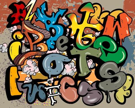 graffiti dibujos animados la pared de graffiti vectores