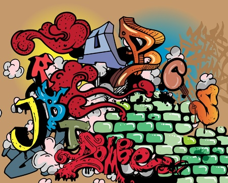 Graffiti wall. Vector