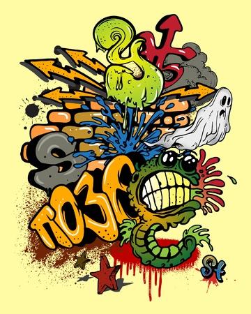 graffiti alphabet: Graffiti-Elemente. Illustration
