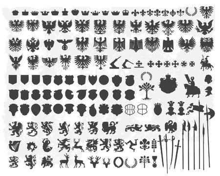 escudo de armas: Siluetas de elementos de diseño heráldico
