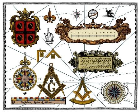 brujula antigua: Mapa de antiguos elementos