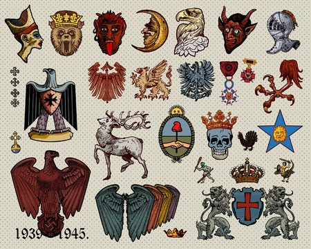 griffin: Heraldry elements. Illustration