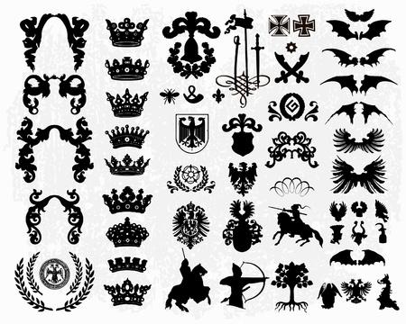 Heraldic elements - silhouettes Stock Vector - 10637128