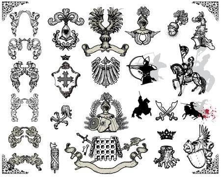 Heraldische elementen Vector Illustratie