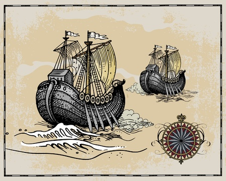 Antique map elements ship Vector