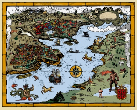 creature of fantasy: Antique map
