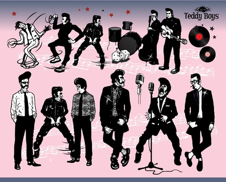 60s fashion: Rock N' Roll - Teddy Boys Illustration