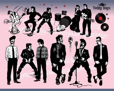 Rock N 'Roll - Teddy Boys Ilustración de vector