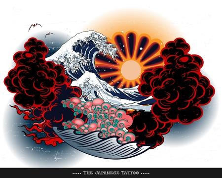 tatouage oiseau: Paysage Japanese Tattoo Illustration