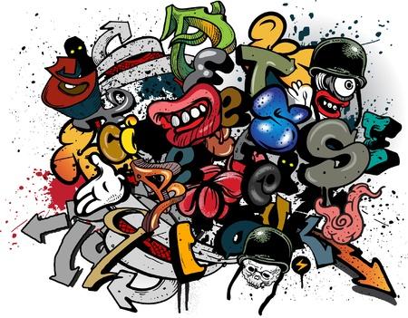 graffiti alphabet: Graffiti Elemente explosion