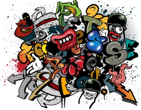 Graffiti elements explosion Vector