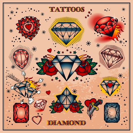 coeur diamant: tatouages Illustration