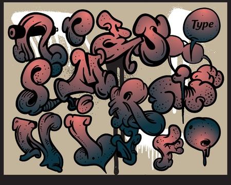 abecedario graffiti: Graffiti vector alfabeto