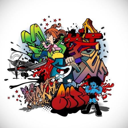 Graffiti, urban art Illustration