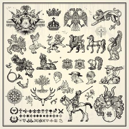 escudo de armas: heráldica, elementos de la colección