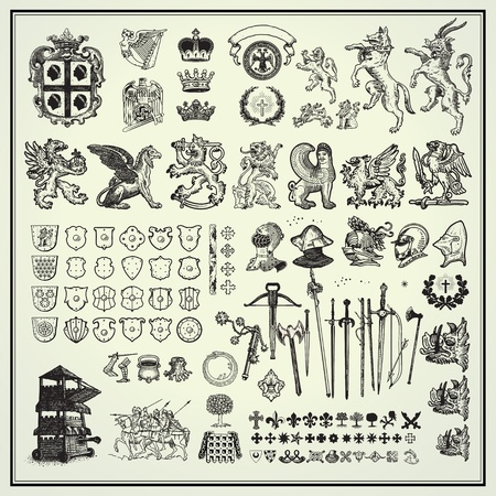 heraldry elements collection Vector