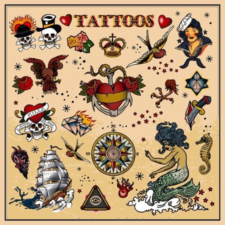 tattoo traditional: Set di tatuaggi Vettoriali