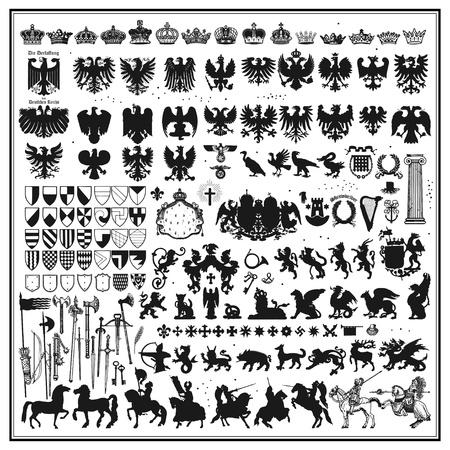 rycerz: sylwetki heraldycznych elementów projektu Ilustracja