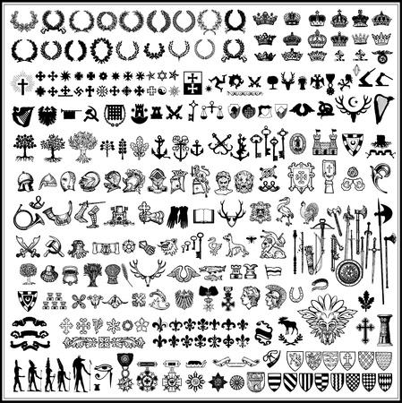 silhouettes des éléments de conception héraldiques