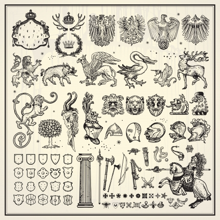 griffin: Heraldic elements collection Illustration