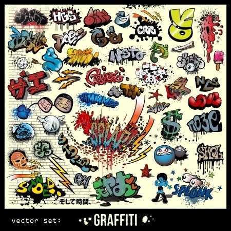 grafitis: conjunto de elementos de graffiti